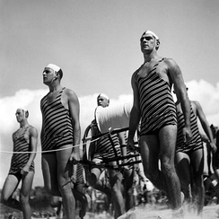 The surf lifesaving movement originated in Australia. (Pictured: surf lifesavers, Bondi Beach, 1930s).