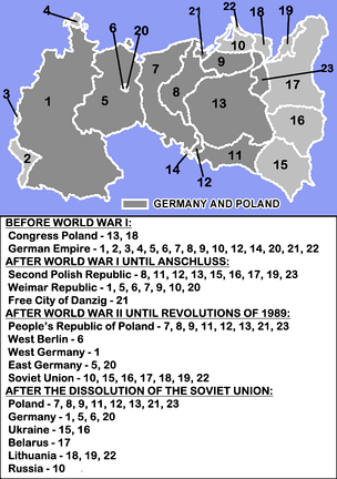 Map showing the different borders and territories of Poland and Germany during the 20th century, with the current areas of Germany and Poland in dark gray