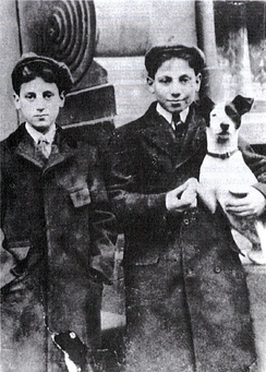 Julius Henry Marx (Groucho) on the left and Adolph Marx (Harpo) on the right holding a rat terrier dog, c. 1906