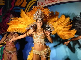 Street samba dancers perform in carnival parades and contests
