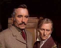 Lee and his close friend Peter Cushing in Horror Express (1972)
