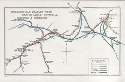 A 1911 Railway Clearing House Junction Diagram showing railways in the vicinity of Dewsbury (upper right)