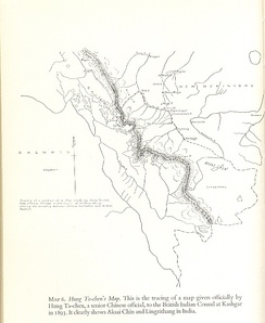 The map of Hung Ta-chen handed to the British consul at Kashgar in 1893. The boundary, marked with a thin dot-dashed line, agrees with the 1878 British map.