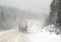 Winter driving can pose serious hazards in countries with colder climates. Highway 11 in Ontario, Canada
