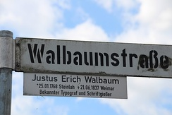 Stencilled and DIN-style lettering on a street sign in Steinlah, a district of Haverlah