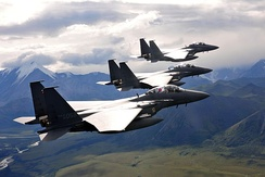 Three F-15K flying in formation during the Red Flag Alaska exercises, August 2013.
