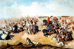 Hungarian hussars in battle during the Hungarian Revolution