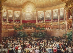 Banquet for Queen Victoria hosted by Napoleon III in the Royal Opera of Versailles, August 1855 by Eugene Lami