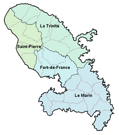 A map of Martinique showing the island's four arrondissements