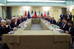 The ministers of foreign affairs of the United States, the United Kingdom, Russia, Germany, France, China, the European Union and Iran negotiating in Lausanne for a Comprehensive agreement on the Iranian nuclear programme (30 March 2015).