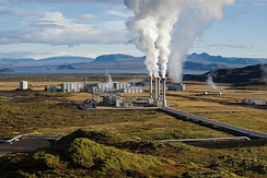 Steam rising from the Nesjavellir Geothermal Power Station in Iceland