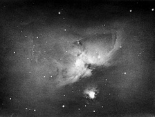 One of Andrew Ainslie Common's 1883 photographs of the same nebula, the first to show that a long exposure could record stars and nebulae invisible to the human eye.