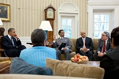 Carson (2nd from right) in a meeting with President Barack Obama and members of the Congressional Black Caucus Executive Committee at the Oval Office, March 30, 2011