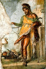 Priapus, wearing a Phrygian cap and weighing his phallus in a balance scale (House of the Vettii, Pompeii)