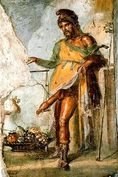 Фреска Приапа из Помпеи. Фреска изображает Приапа, взвешивающего свой эрегированный половой член, положив на вторую чашу весов мешок золота[62].