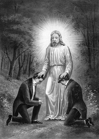 A depiction of Joseph Smith and Oliver Cowdery receiving priesthood authority from John the Baptist