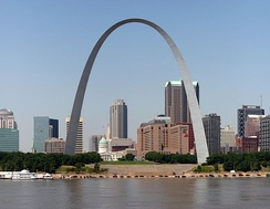 The Gateway Arch in St. Louis on the Mississippi River
