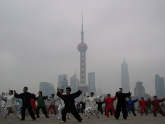 The Yang style of taijiquan being practiced on the Bund in Shanghai