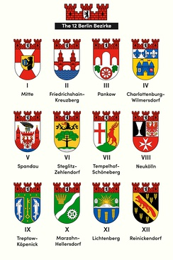 The 12 Berlin Bezirke (Boroughs) - following the 2001 district reform