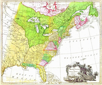 "MAP of the British North American colonies in 1777. (1) To the north is British Quebec, the French 1763 cession in green, north of the St. Lawrence River, east to the Atlantic, west to the Great Lakes, then south along the Mississippi River to its confluence with the Ohio River. (2) To the south are the Floridas, the Spanish 1763 cessions of East Florida in green (Mobile and Pensacola) and West Florida in light yellow (the Florida peninsula south of the St. John's River and east of the Apalachicola River). (3) The Atlantic seaboard colonies number ten in a way unfamiliar to the modern eye. Georgia, South Carolina, North Carolina, Virginia and Maryland are all limited west by the 1763 Royal Proclamation. Pennsylvania had a treaty west nearly to its modern border. Delaware was the same three counties ceded from Pennsylvania. New York was west only the Lake Erie midpoint where the Seneca River empties into it. The Massachusetts (and its Maine), New Hampshire, Connecticut, and Rhode Island are all labelled ""New England"", Nova Scotia includes the island and modern New Brunswick."