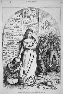 A defiant Columbia in an 1871 Thomas Nast cartoon shown protecting a defenseless Chinese man from an angry Irish lynch mob that has just burned down an orphanage