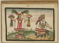 Xochiquetzal (left) and Chalchiuhtlicue (right) as depicted in the Tovar Codex.