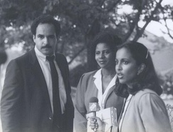 Pemmaraju interviewing candidates Curt Anderson and Georgia Goslee for WMAR-TV in 1982