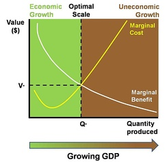 The marginal costs of a growing economy may gradually exceed the marginal benefits, however measured.