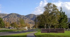 Main entrance to CSU San Bernardino along University Parkway.