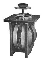 (left) Inductor with a threaded ferrite slug (visible at top) that can be turned to move it into or out of the coil. 4.2 cm high. (right) A variometer used in radio receivers in the 1920s