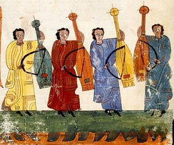"Spanish instruments from before the name viol or vihuela was coined, played with a bow. From Commentary on the Apocalypse, Codice VITR 14.1, ""second third of 10th century.""[11]"