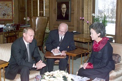 Governor General Adrienne Clarkson (right) meets with Russian president Vladimir Putin (left) in the governor general's study of Rideau Hall, 18 December 2000