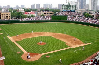Wrigley's ivy, bleachers, rooftop seats, and scoreboard, as they looked in 2007