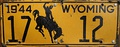 In 1944 Wyoming license plates were made of soybean-based fiberboard due to metal conservation for World War II.