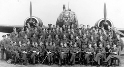 Photograph of No. 305 Polish Bomber Squadron taken in 1942 at RAF Cammeringham in Lincolnshire.