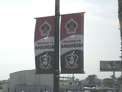 Street banners promoting the Anaheim Ducks and Los Angeles Angels