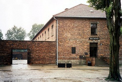 "Block 11 and (left) the ""death wall"", Auschwitz I, 2000"