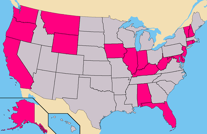 Pink - States where Durham had Write-In access. (90 Confirmed Electors)Total - 90 Electoral