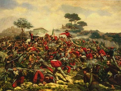 Giuseppe Garibaldi's redshirts during the Battle of Calatafimi, part of the Italian Unification.