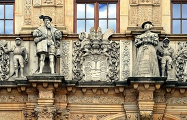 Details on the main gatehouse of Brzeg Castle that once belonged to Silesian Piasts