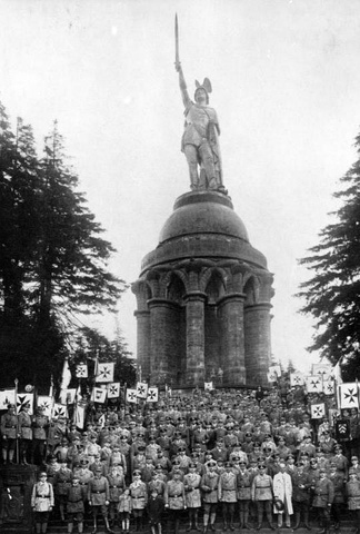 "An event of the Young German Order at the ""Hermannsdenkmal"" monument to Arminius, in 1925. At the time, Germans learned to see Arminius (often wrongly modernized into ""Hermann"") as a ""German""."
