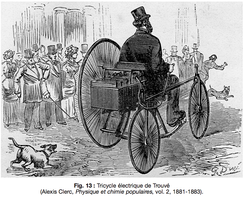 Gustave Trouvé's tricycle, the first ever electric automobile to be shown in public