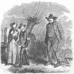 Pip and Biddy followed by Orlick (chapter 17), by John McLenan