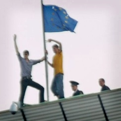 The flag of the European Union was a symbol for Moldovan anti-communists in 2009