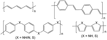 Structures of some electrically conductive polymers: polyacetylene; polyphenylene vinylene; polypyrrole (X = NH) and polythiophene (X = S); and polyaniline (X = NH/N) and polyphenylene sulfide (X = S).