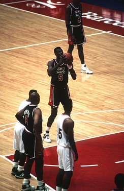 "Robinson at the free throw line in 1992 for the ""Dream Team"""
