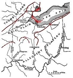 The Erie Plain in Ohio, defined by Lake Erie and the Portage and Marshall Escarpments (in red). The Glaciated Allegheny Plateau in southern Ohio.