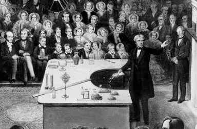 Michael Faraday giving a Christmas Lecture at the Royal Institution (circa 1855).
