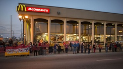 Fast food workers on strike outside of a McDonald's in St. Paul, Minnesota