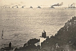 Great White Fleet passing Trinidad Head, CA 1908